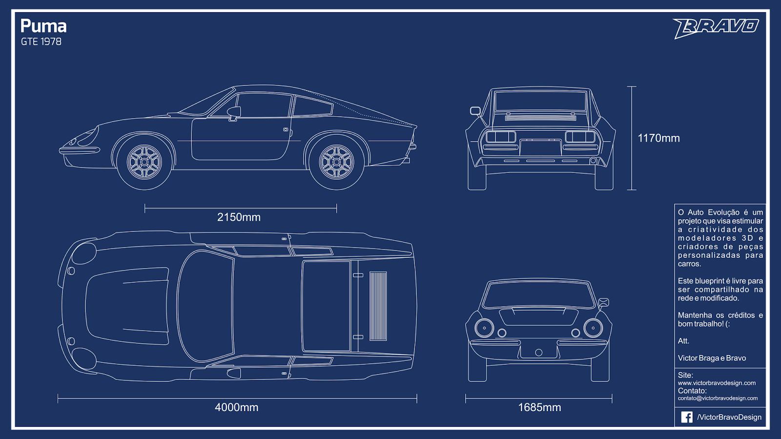 Imagem do blueprint do Puma GTE 1978