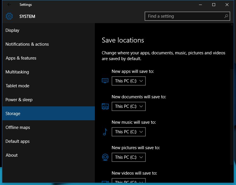 dark theme windows 10 storage