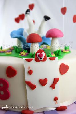 cake design torta decorata Alice in Wonderland alice nel paese della meraviglie polvere di zucchero torta pasta di zucchero