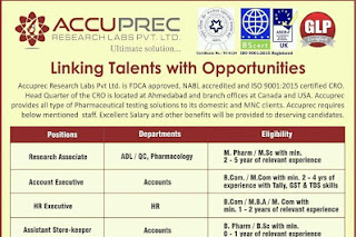 Walk in interview@Accuprec on 25 November for multiple positions
