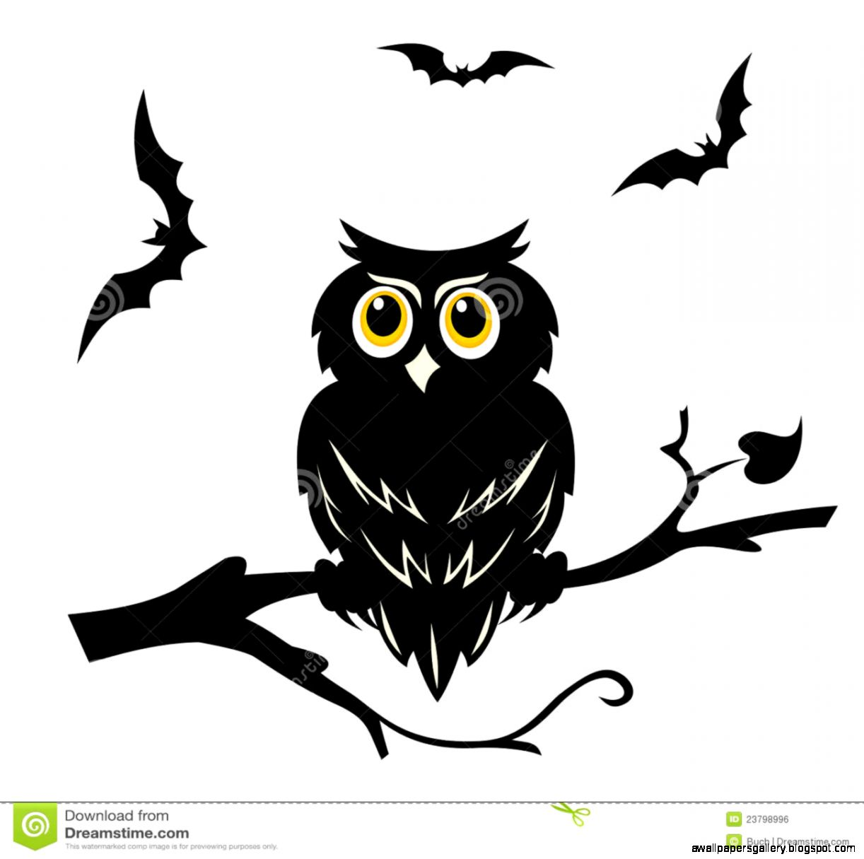 Owl On A Branch Silhouette