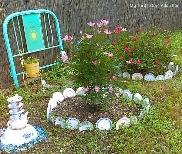 The Top 5 Things to Look for at Yard Sales mythriftstoreaddiction.blogspot.com Yard sale dishes add whimsy to the garden