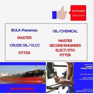 Seafarers Jobs Hiring September 2018 Join on bulk carrier, oil tanker ship.
