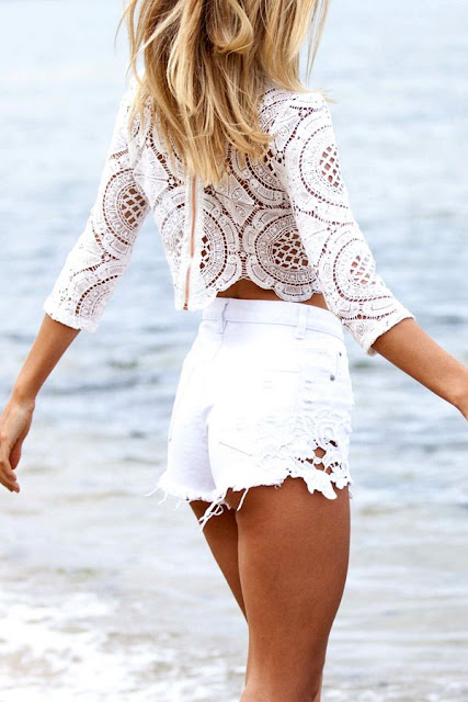 White Balmain Crochet Crop