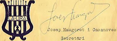 Emblema de La Lira y firma de Josep Masgoret i Casanoves