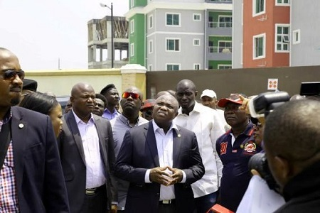 Lagos State Gov. Ambode Spotted Inspecting Site of Collapsed Lekki Gardens Building (Photos)