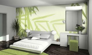 Habitación en verde y gris