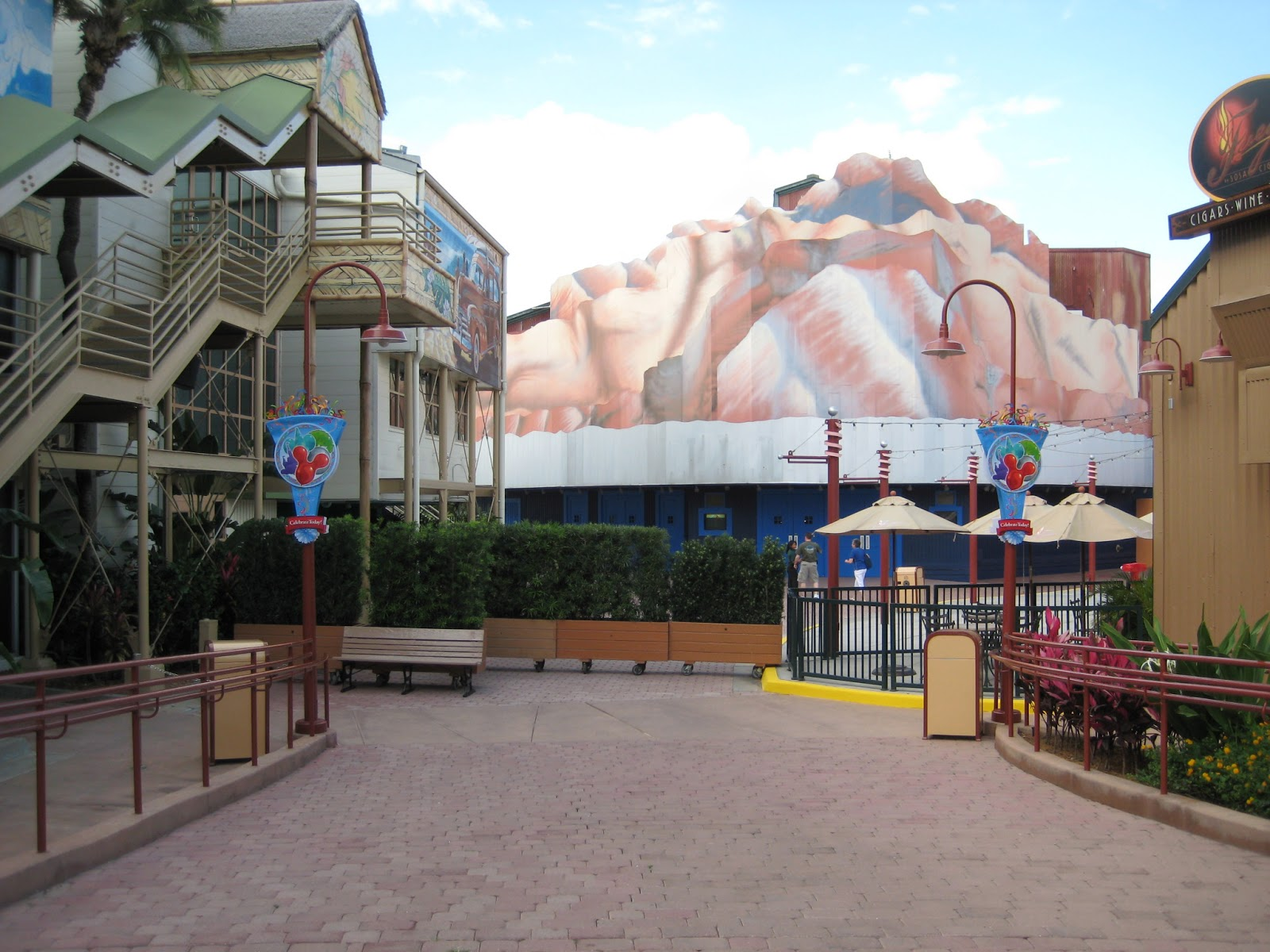The imposing Rock'n'Roll Beach Club still dominated The Hub corner while  Disney's rolling plantars blocked access to club Motion.