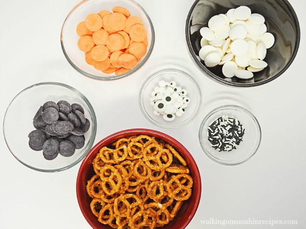 Ingredients used for Chocolate Covered Spooky Halloween Pretzels Recipe from Walking on Sunshine Recipes