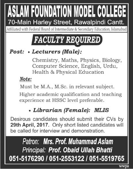 Aslam Foundation Model College Rawalpindi Jobs