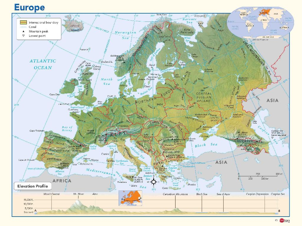europe map with physical features