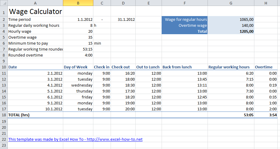 Wage Template wage calculator excel tutorial and download free – Microsoft Excel Payroll Template