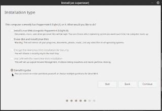 Linux Mint 19 Tara Installation Type