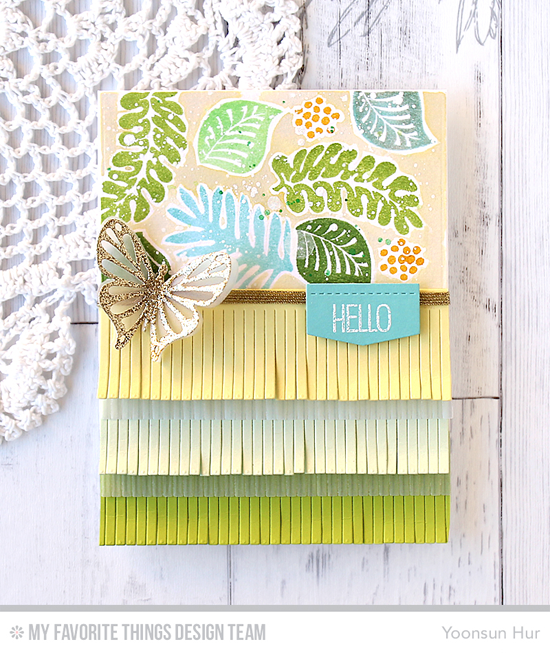 Handmade card from Yoonsun Hur featuring Tropical Flowers and Birdie Brown Hog Heaven stamp sets, Flutter of Butterflies - Lace, Flutter of Butterflies - Solid, Fringe, and Blueprints 29 Die-namics #mftstamps