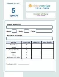Examen del Bloque II Quinto grado 2018-2019