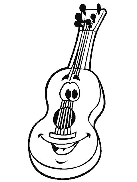 Gambar Mewarnai Gitar - 7