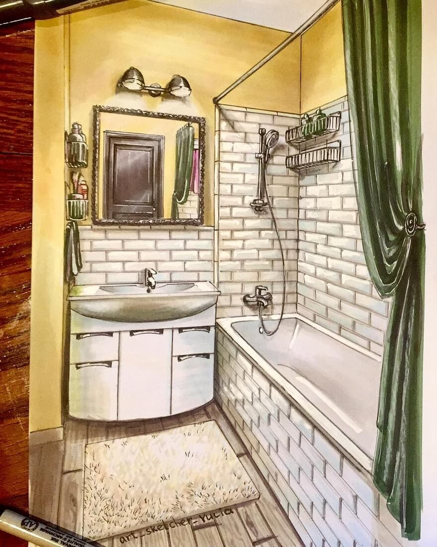 13-Bathroom-Julia-Timireeva-Юлия-Тимиреева-Interior-Design-Drawings-that-Help-Visualise-www-designstack-co