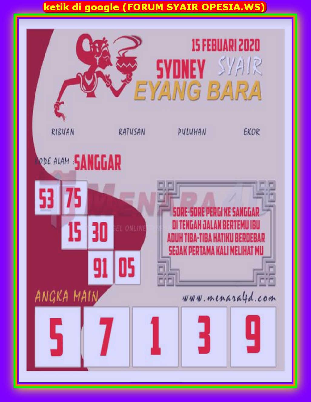 Kode syair Sydney Sabtu 15 Februari 2020 55