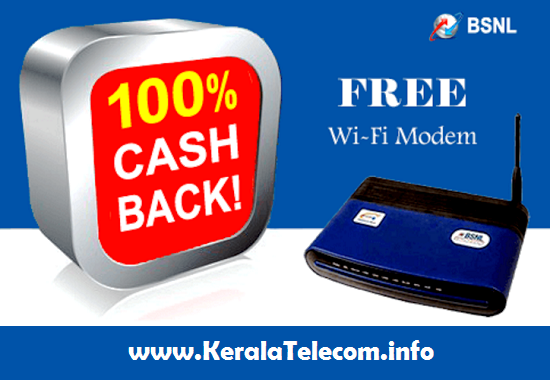 BSNL extended WiFi Broadband Modem 100% Cash back Offer up to 30th Spetember 2016 in all the circles