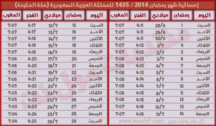 موعد بدء اول يوم من رمضان المبارك 1435, تحميل امساكية شهر رمضان 2014