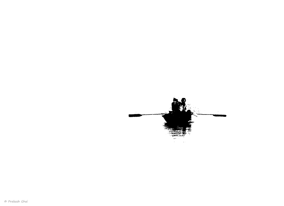 A Black and White Minimalist Photo of an Old man and his friend rowing a boat, lost in the sea.