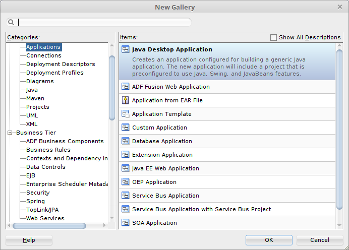 Oracle jdeveloper 12c basics jdeveloper feature application navigator as this is the first time were creating an application and we want to make it simple well go with java desktop application where well create java ccuart Images