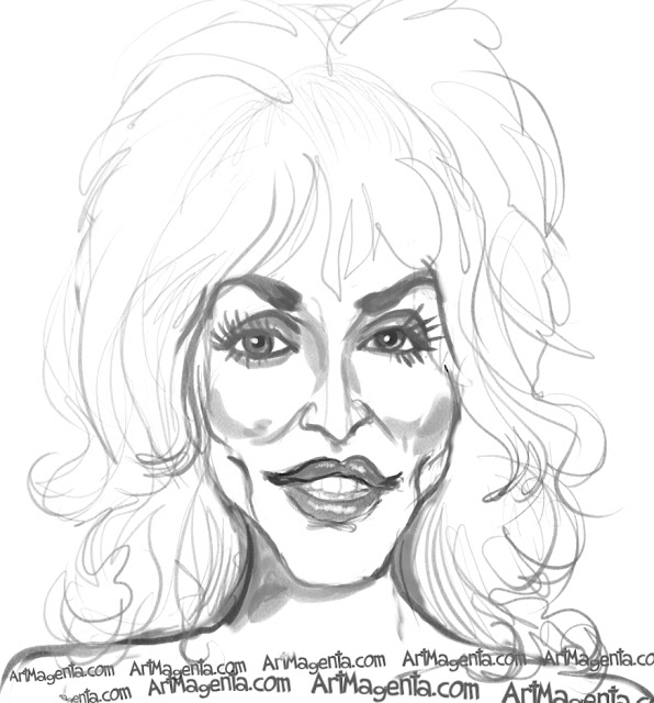 Dolly Parton  caricature cartoon. Portrait drawing by caricaturist Artmagenta.