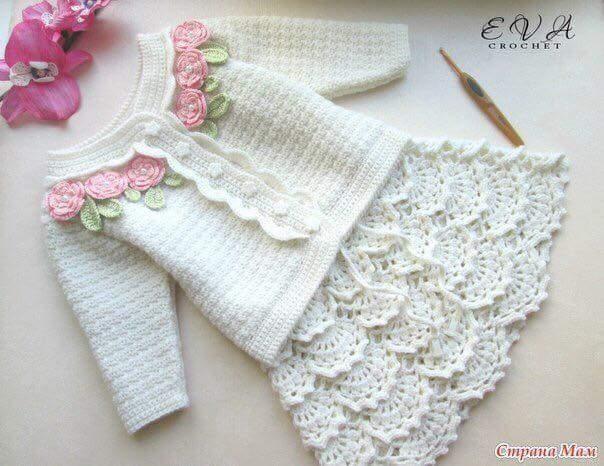 Patrón #1787: Falda de Niña a Crochet.