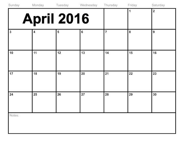 April 2016 Blank Calendar Cute, April 2016 printable Calendar download free, April 2016 Calendar with Holidays, April 2016 Calendar Word Excel PDF Template, April 2016 Calendar Weekly