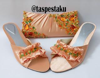 Handmade Tas Pesta dan Sepatu Warna Bisa Pilih Peach Oren Muda Cantik