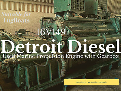 Detroit Diesel 16V149 marine propulsion engine with gearbox suitable for tugboat for sale
