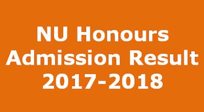 NU Honours Admission Result 2017-18 By www.nu.edu.bd