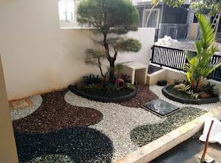 Taman kering dengan bonsai cemara udang