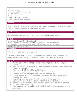 Cv format for mechanical engineer