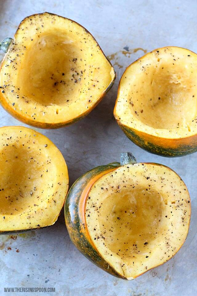 Healthy Baked Then Stuffed Acorn Squashes