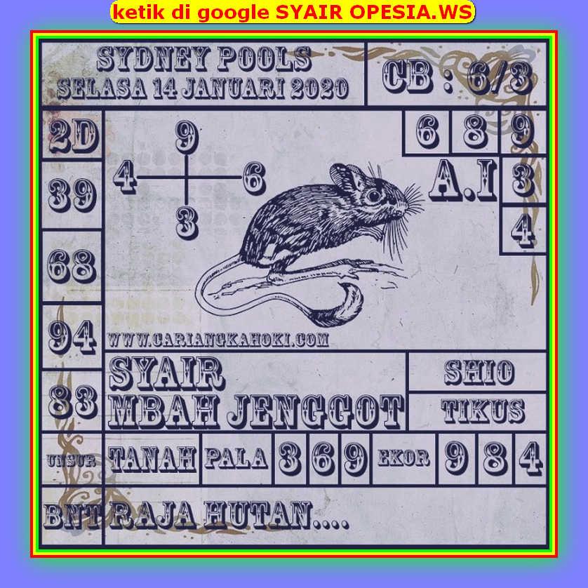 Kode syair Sydney Selasa 14 Januari 2020 81