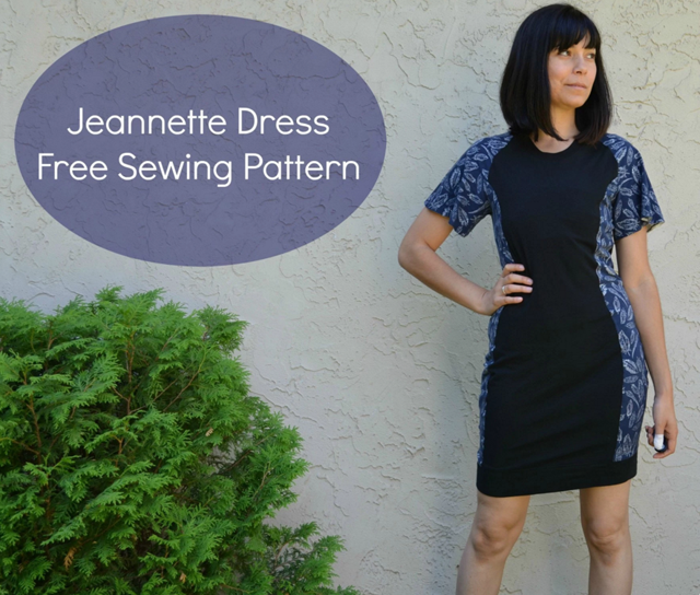 Jeanette Dress Free Sewing Pattern by On the Cutting Floor. A semi fitted knit dress featuring a round neckline and flared raglan sleeves.