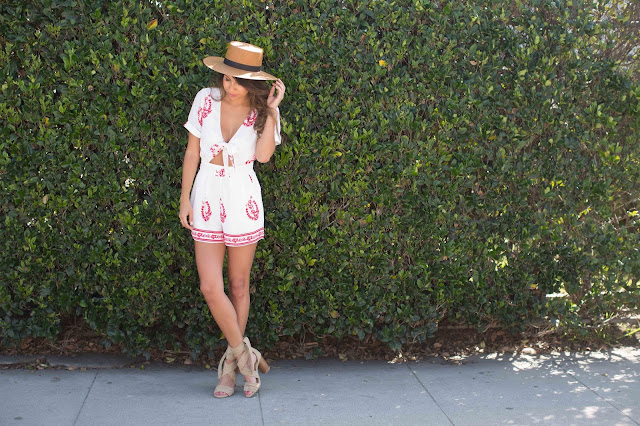 how to wear a romper, janessa leone hat, palm spring outfit ideas
