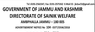 Jobs in Sainik Welfare Department, Jammu