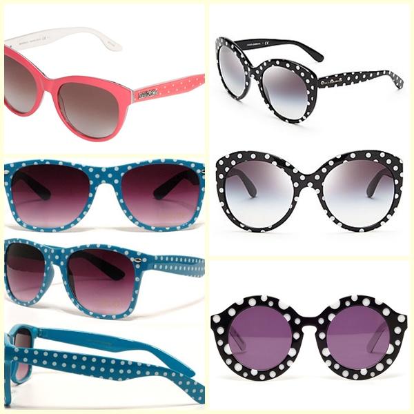 óculos com estampa de bolinhas poás