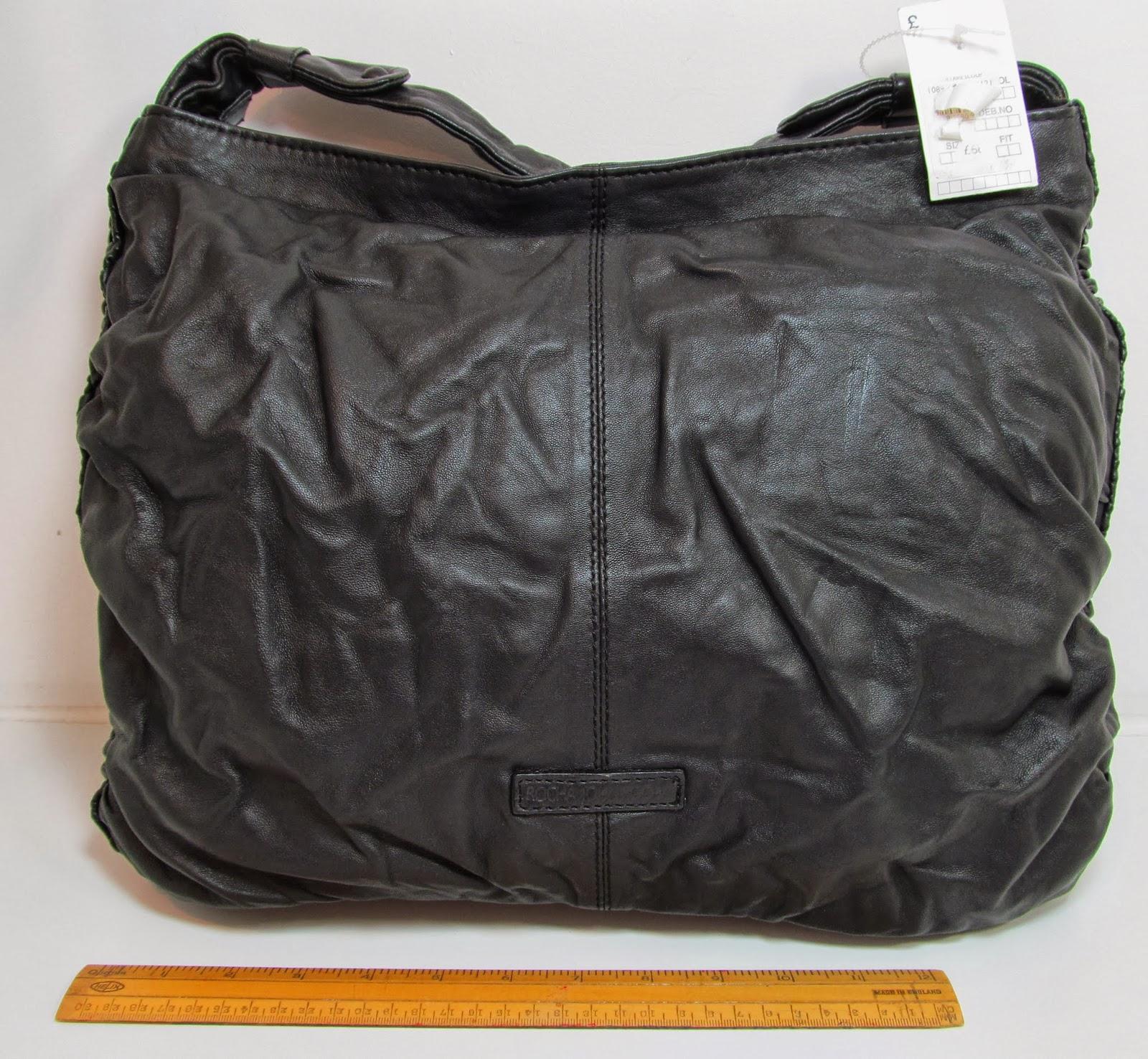 Rocha John Black Quality Leather Slouch Shoulder Bag Handbag Purse T75