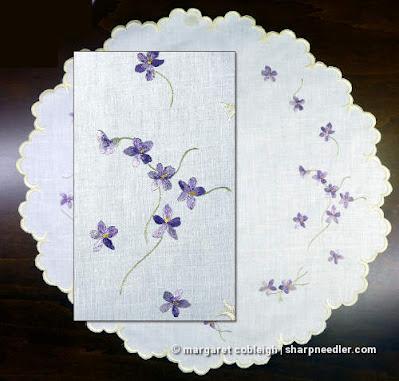 Original antique Society Silk centrepiece with violets