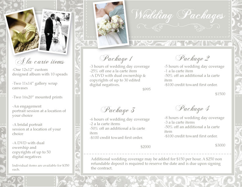 Wedding Photography Package Names: 5 FREE Wedding Photography