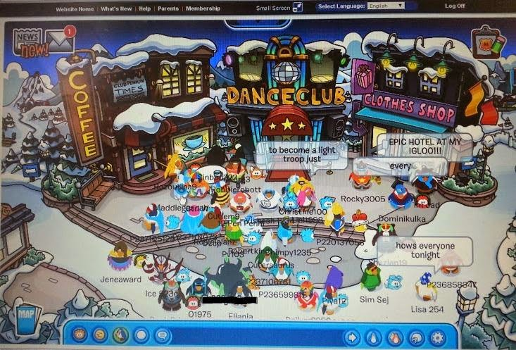 Club Penguin game and magazine review - street with shops