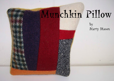 machine felted wool scraps made into small pillows - marty mason
