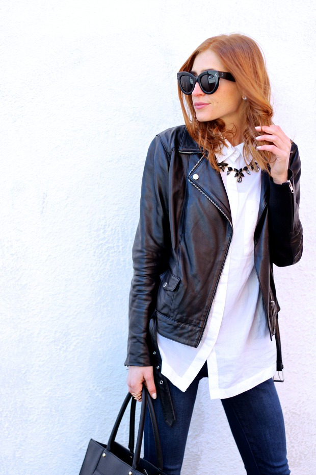 closet staples- white blouse, leather jacket