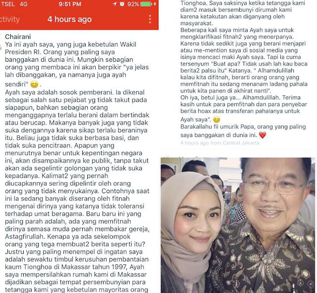 Putri Bungsu JK Curhat Ke Media Soal Isu Hoax yang Serang Ayahnya, Ini Isinya