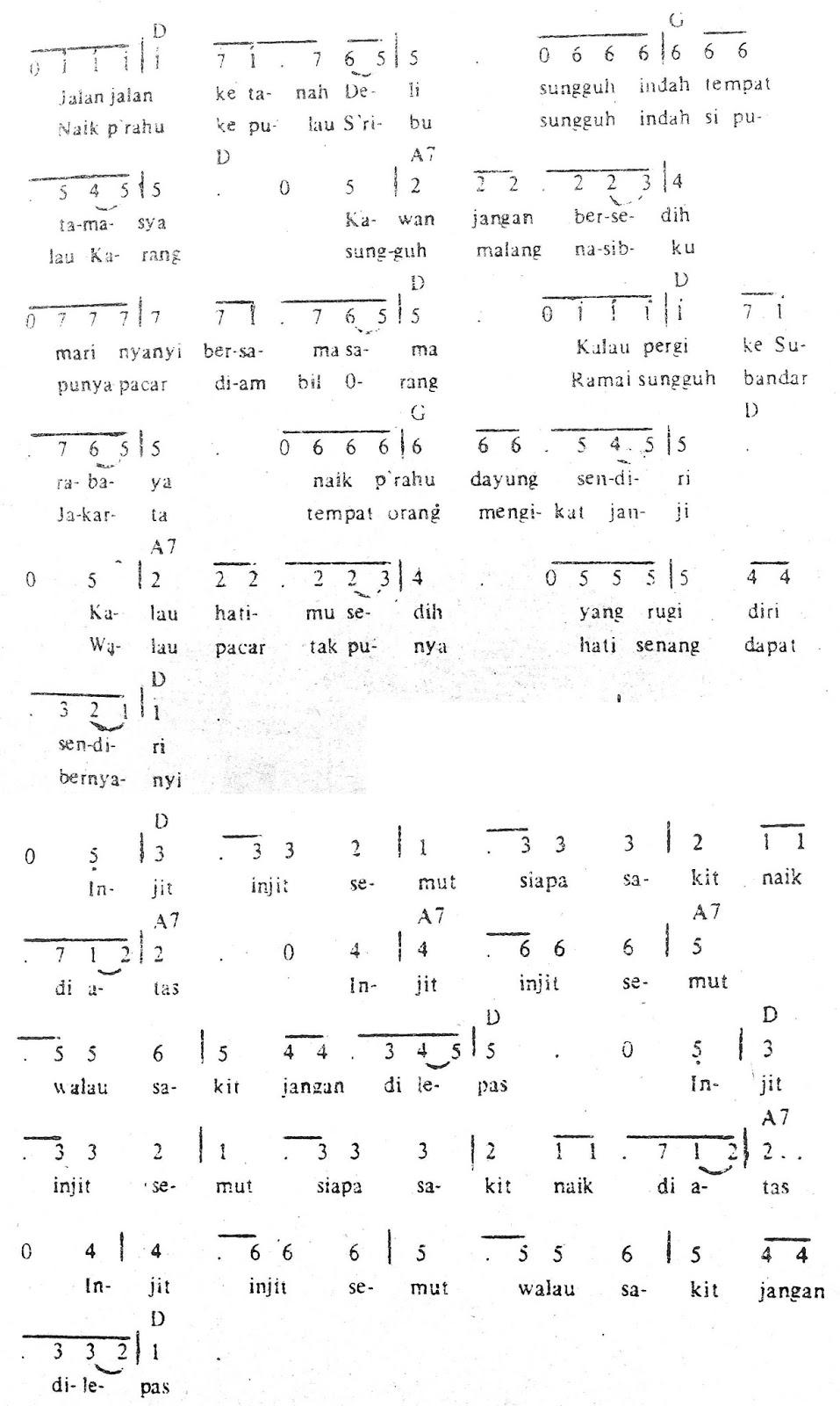 Chord & Arti Lirik Lagu Jambi: Injit Injit Semut + Not Angka