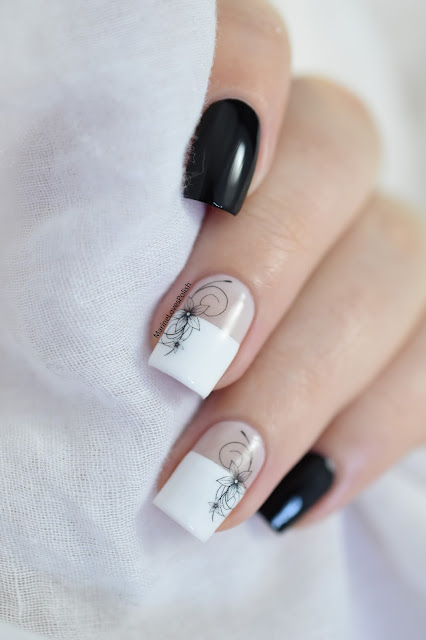 black floral water decals