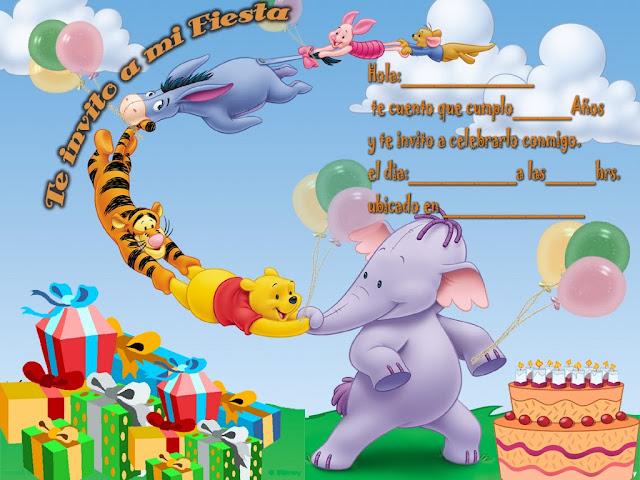 invitaciones cumpleaños  Winnie the Pooh
